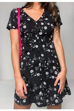 Missguided Floral Print Button Through Tea Dress