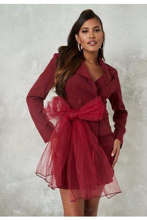 Missguided Petite Mesh Bow Blazer Dress