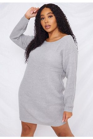 Missguided Plus Size Waffle Off The Shoulder Sweater Dress