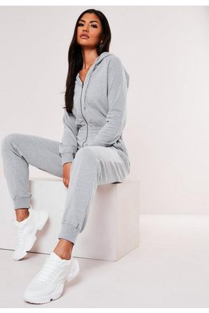 Missguided Gray Hooded Zip Up Romper
