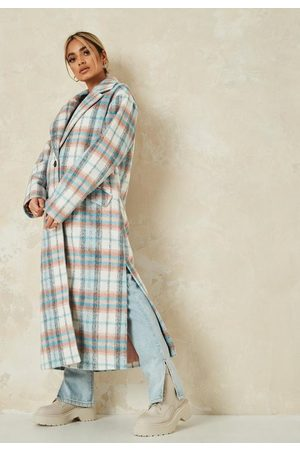 Missguided Petite Pink Plaid Side Split Formal Coat
