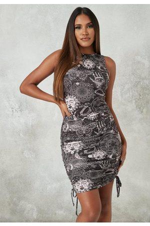 Missguided Petite Galaxy Print Ruched Side Mini Dress