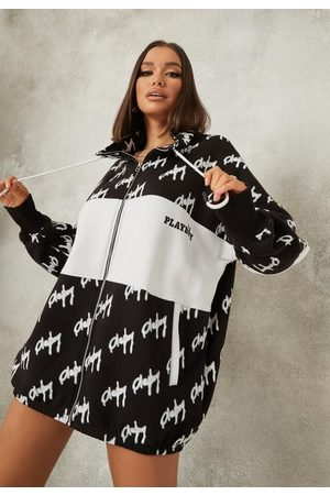 Missguided Women Casual Dresses - Playboy X Repeat Print Zip Through Oversized Sweater Dress