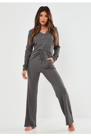 Missguided Gray Marl Waffle Loungewear Set