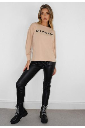 Missguided Tall Oh Please Graphic Long Sleeve T Shirt