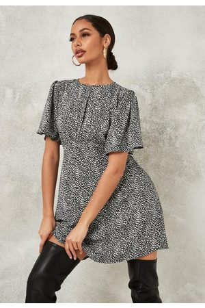 Missguided Dalmatian Print Short Sleeve Mini Dress