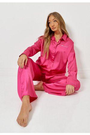 Missguided Script Satin Oversized Pyjama Set