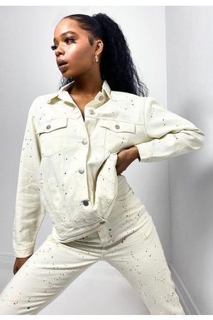 Missguided Co Ord Paint Splatter Denim Jacket