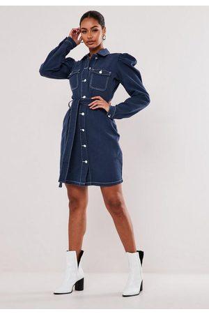 Missguided Tall Contrast Stitch Denim Mini Dress