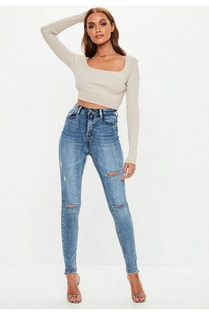 Missguided Vintage Wash Distressed Knee High Waisted Skinny Jeans