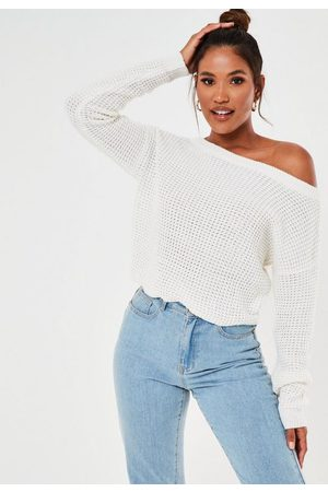 Missguided Women Strapless Tops - Off The Shoulder Knit Sweater