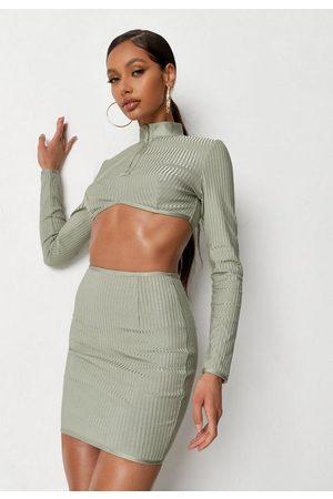 Missguided Sage Bandage Zip Front Mini Skirt