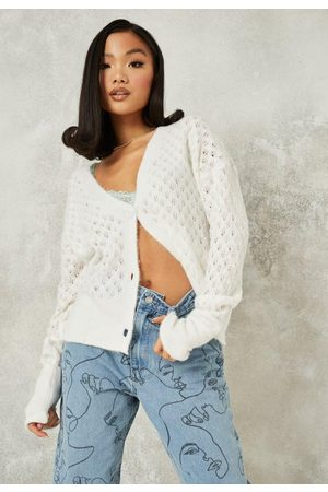 Missguided Women Cardigans - Fluffy Knit Pointelle Cardigan