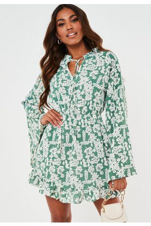 Missguided Sage Floral Print High Neck Keyhole Flare Sleeve Dress