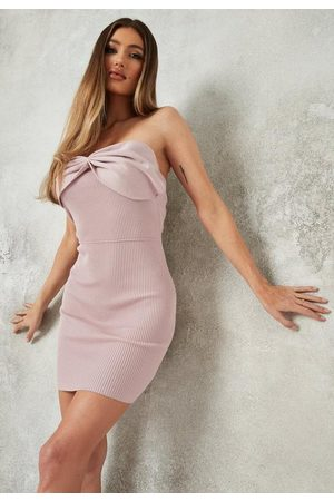 Missguided Women Party Dresses - Blush Bow Front Bandeau Knit Mini Dress