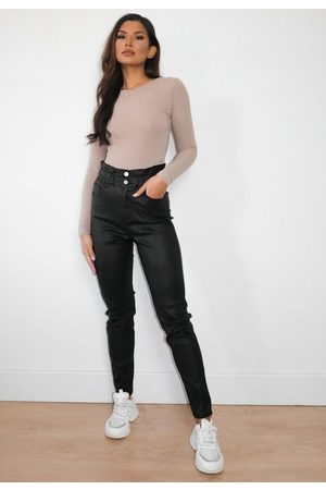 Missguided Women Jeans - Coated Elasticated Waist Balloon Jeans