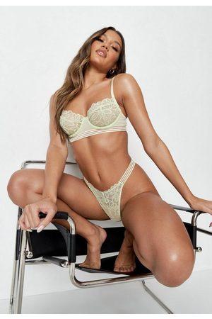 Missguided Women Balconette Bras - Sage Sheer Stripe Lace Balconette Bra
