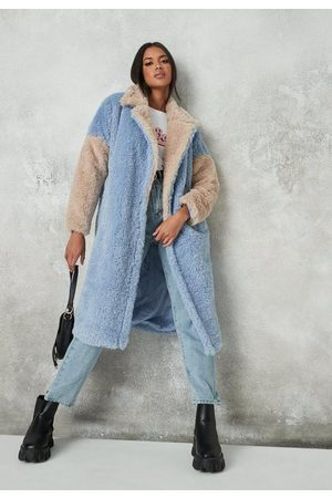 Missguided Petite Colorblock Faux Fur Coat