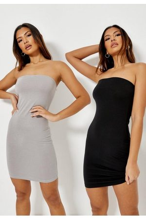 Missguided Women Bodycon Dresses - & Light Gray Bandeau Bodycon Dress 2 Pack