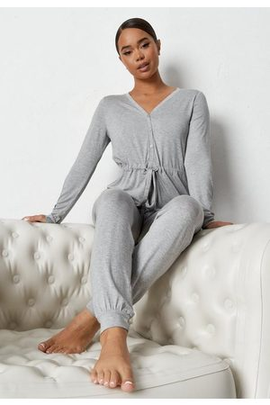 Missguided Women Sweats - Gray Button Up Drawstring Waist Loungewear Romper