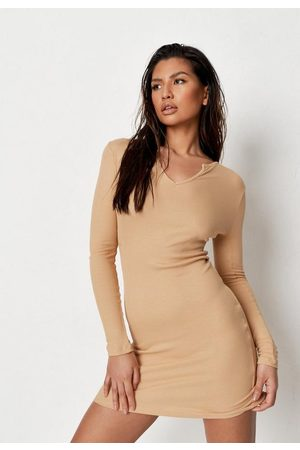 Missguided Women Party Dresses - Rib Notch Neck Mini Dress