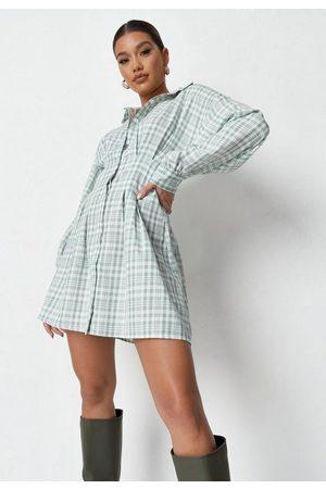 Missguided Sage Plaid Pleated Waist Shirt Dress
