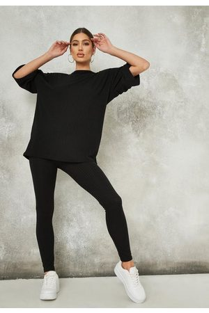 Missguided Women Leggings - Ribbed Oversized T Shirt And Leggings Co Ord Set