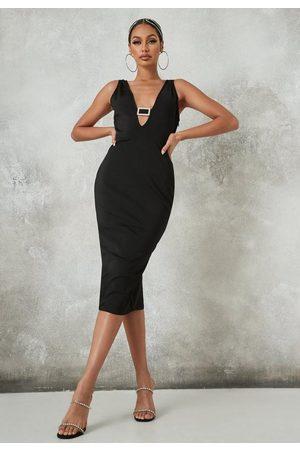 Missguided Petite Diamante Buckle Plunge Bandage Midi Dress