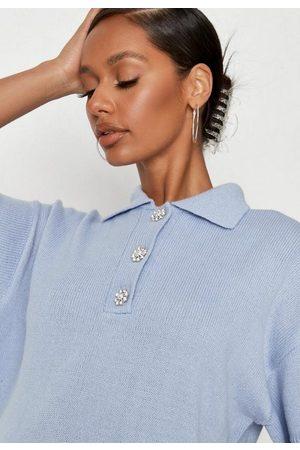 Missguided Diamante Button Collared Knit Mini Dress