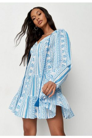Missguided Women Party Dresses - Porcelain Print Tie Tassel Mini Dress