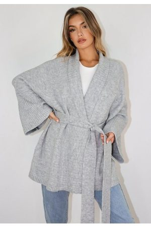 Missguided Gray Belted Long Knit Cardigan
