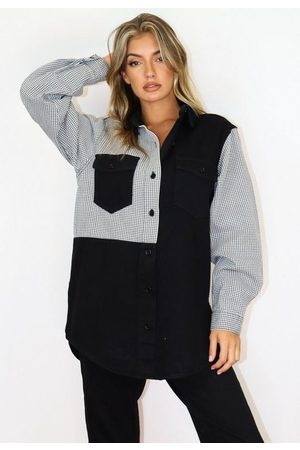 Missguided Houndstooth Spliced Denim Shirt