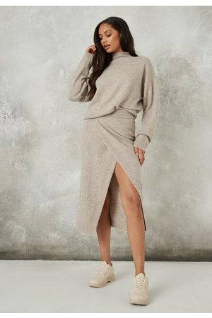 Missguided Recycled Mocha Co Ord Split Front Knit Skirt