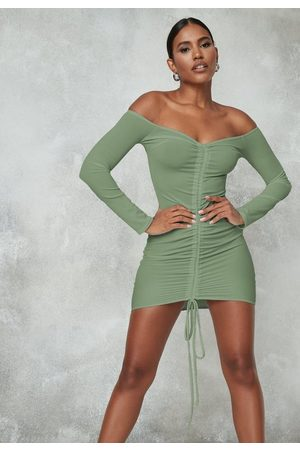 Missguided Women Party Dresses - Khaki Rib Ruched Front Long Sleeve Mini Dress
