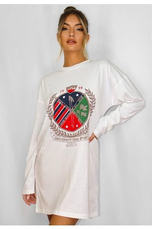 Missguided Oversized Graphic Long Sleeve T Shirt Dress