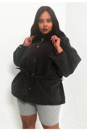 Missguided Women Denim Jackets - Plus Size Denim Tie Belt Fur Collar Jacket