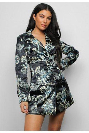 Missguided Floral Satin Corset Blazer Dress