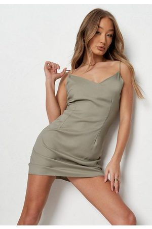 Missguided Khaki V Neck Cami Slip Dress