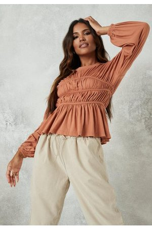 Missguided Tall Almond Ruched Waist Long Sleeve Top