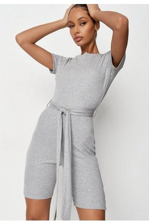 Missguided Women Sweats - Gray Rib Tie Belt Crew Neck Loungewear Romper