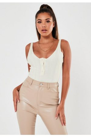 Missguided Pearlised Button Extreme Rib Knit Bodysuit