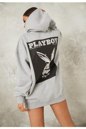 Missguided Playboy X Gray Oversized Bunny Print Hoodie Dress