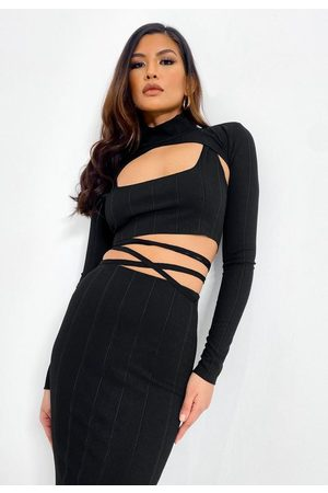 Missguided Rib Cut Out Turtle Neck Crop Top