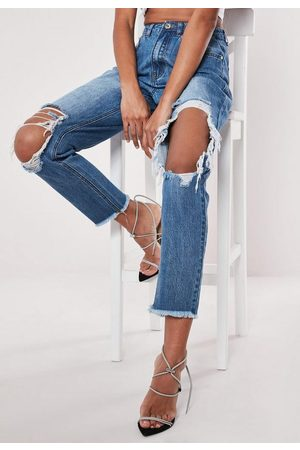 Missguided High Rise Open Ripped Knee Mom Jeans