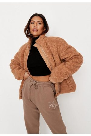 Missguided Petite Toffee All Over Borg Teddy Puffer Jacket