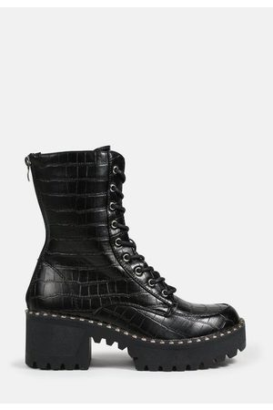 Missguided Mock Croc Lace Up Chunky Ankle Boots