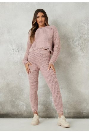 Missguided Co Ord Knit Chenille Distressed Leggings