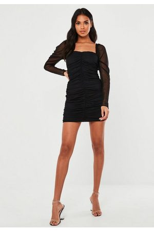 Missguided Mesh Ruched Long Sleeve Mini Dress