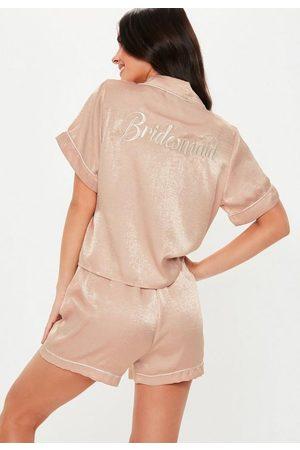 Missguided Satin Bridesmaid Short Sleeve Pyjama Set