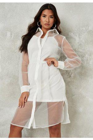 Missguided Organza Tie Shirt Midi Dress